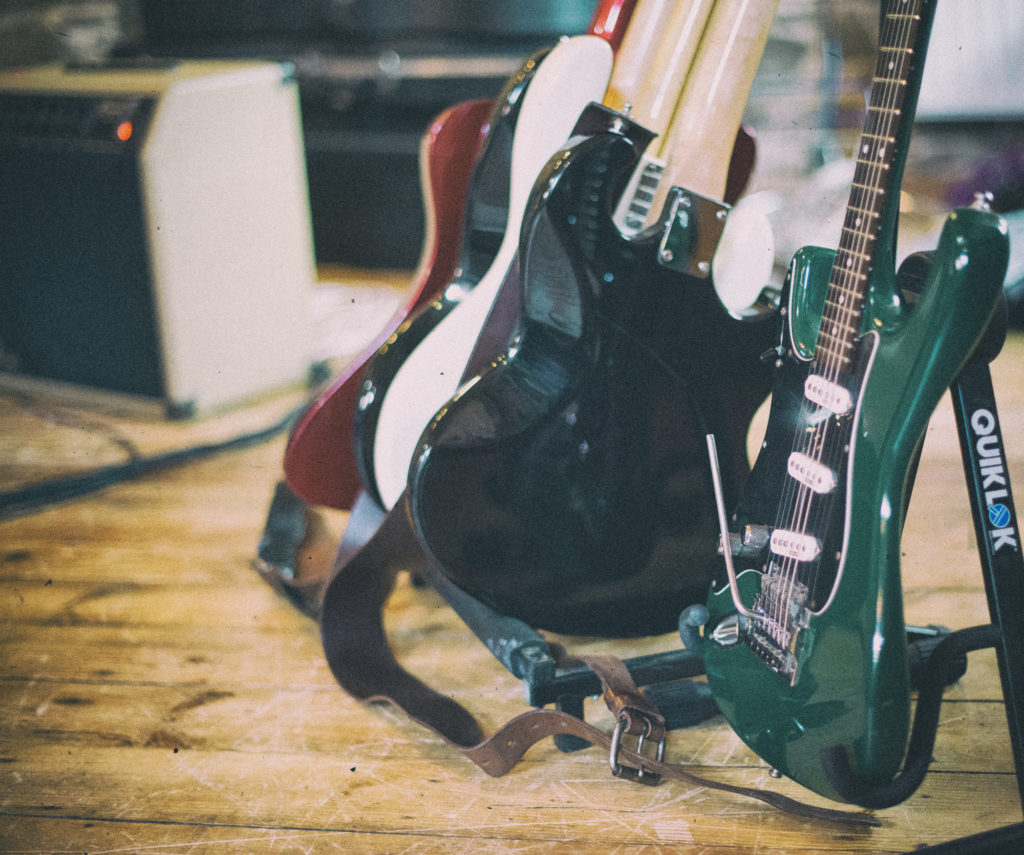 Green Stratocaster and other guitars
