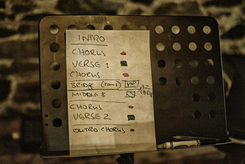 "...quick scratch-arrangement notes for ""Standing Stones""..."